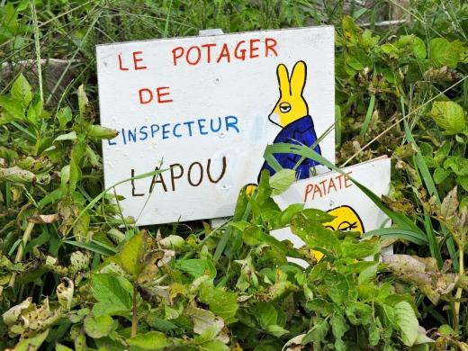 Une classe a élaboré son jardin autour de la littérature avec les histoires de L'inspecteur Lapou, le Colombo du potager (publiées chez Gallimard Jeunesse)