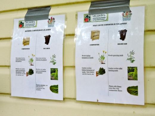 Des fiches pour indiquer ce qui est compostable ou pas.